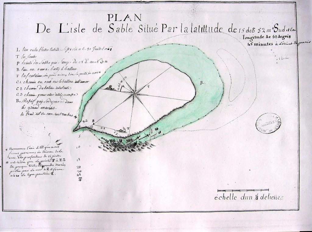 Plan de l'île de Sable dressé en 1761. Archives nationales