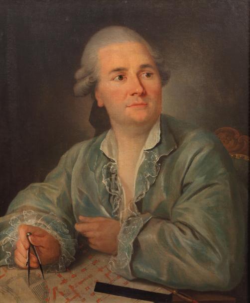 École française du XVIIIe siècle, atelier de Jean-Baptiste Robin, Portrait de l'architecte Victor Louis travaillant sur un plan du Grand-Théâtre de Bordeaux