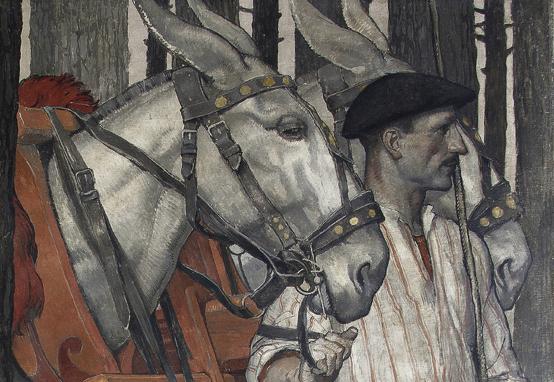 Détail de la forêt landaise de J.-M. Roganeau, 1925