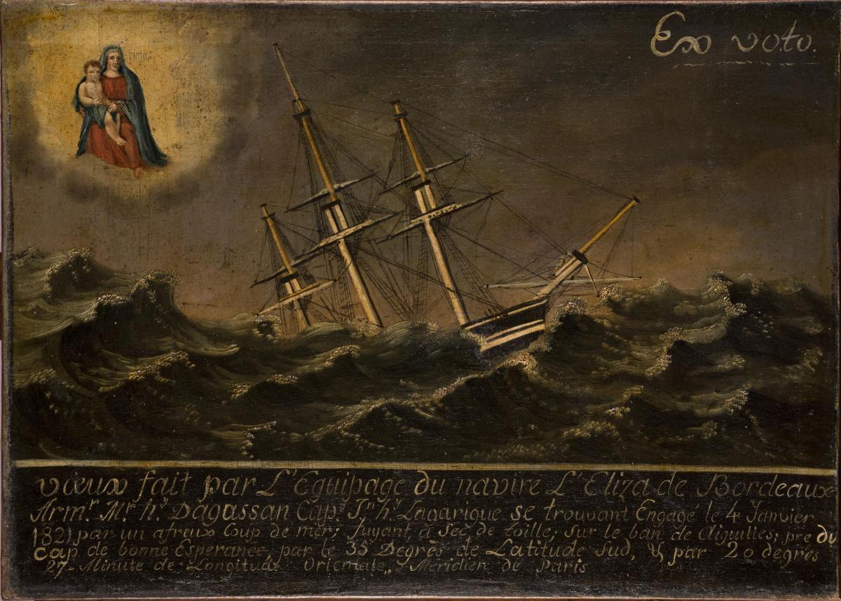 Le navire l'Eliza de Bordeaux engagé dans une mer déchainée, 1821. Photographie de Lysiane Gauthier, mairie de Bordeaux