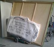 transport des oeuvres de l'exposition Iturria