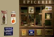 Façade de l'épicerie reconstitué du début du XXe siècle. musée d'Aquitaine