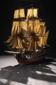 Maquette du navire le Conquérant, vers 1770. Photo L. Gauthier, mairie de Bordeaux. musée d'Aquitaine