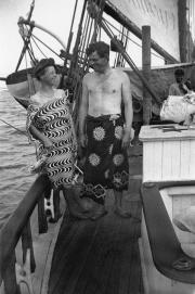 Jack et Charmian London à bord du Snark, Samoa, 1908. Collection Michel Viotte, DR.