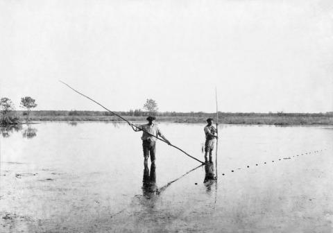 Pêcheurs à l'Aygue-Longue, 20 mars 1886, Commensacq