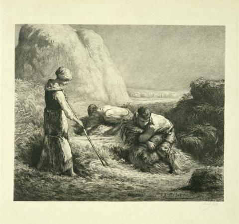Los Agavilladores, Salón de 1850, Según Jean-François Millet (1814-1875)