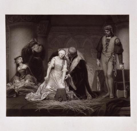 """""""Lady Jane Grey au moment du supplice"""" d'après Paul Delaroche (1797-1856)"""