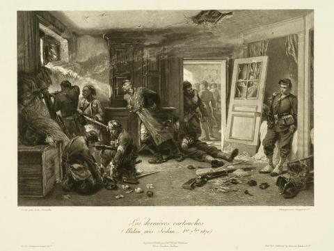 Photogravure de Goupil et Cie d'après A. de Neuville, Les dernières cartouches, photo Bernard Fontanel