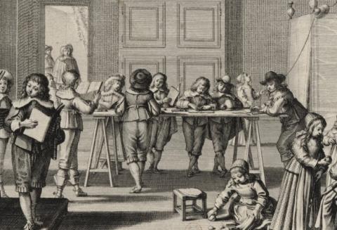 Abraham Bosse, Le maistre d'escole, v. 1635, détail, BnF