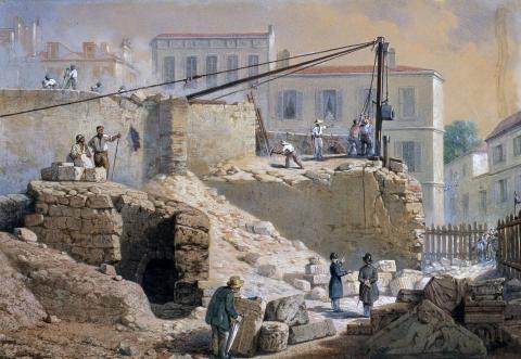 Mise au jour des vestiges du rempart gallo-romain, photo Jean-Michel ARNAUD, mairie de Bordeaux