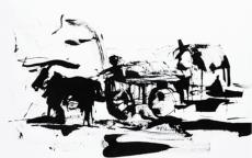 Laurent Chiffoleau, Char aux algues, encre sur papier, 2014