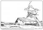 dessin Michel Porte-Petit, musée d'Aquitaine, d'après Félix Arnaudin