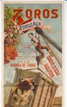 Lithographie : Toros Bordeaux. Rue de la Benatte et rue Chevalier... 9 avril 1905