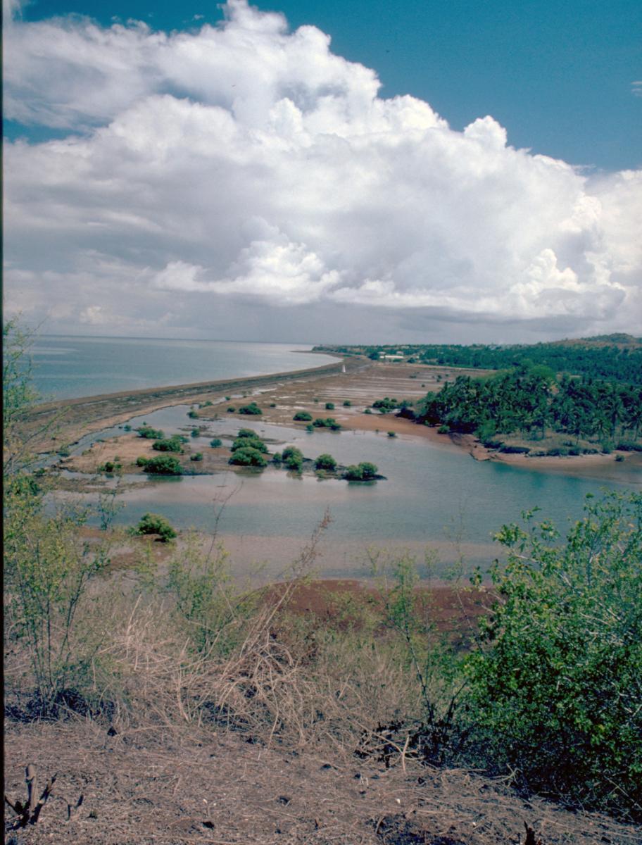 Vue de la plage des Badamiers (Petite Terre, Mayotte) avec l'ensemble funéraire de Bagamoyo. Photographie de Patrice Courtaud.